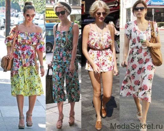 модели платьев с цветочными принтами