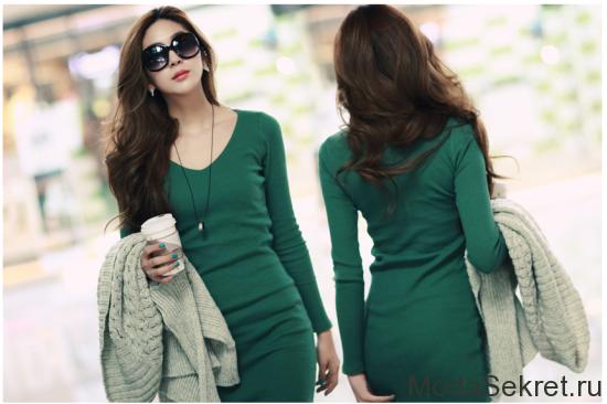 зеленое платье с кардиганом