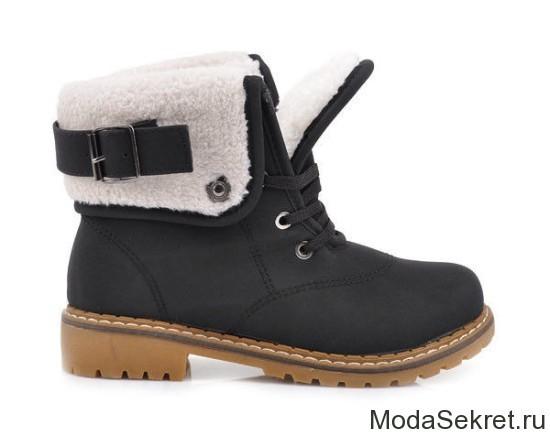 черные ботинки на каблуке для зимы
