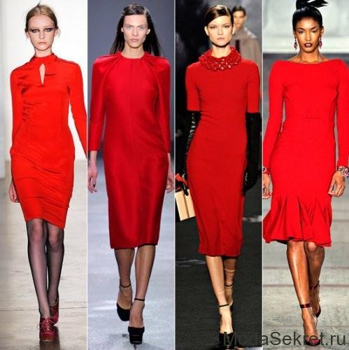 красные платья на четырех моделях