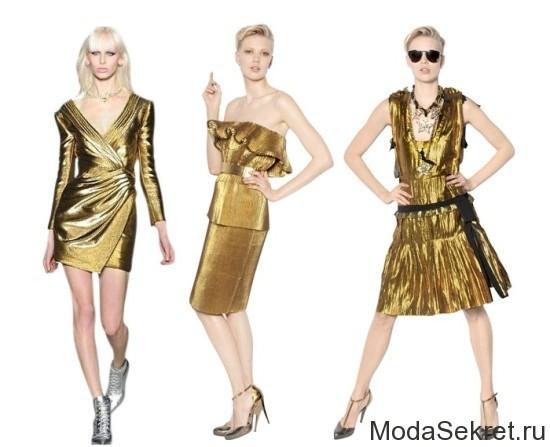 три модели позируют в вечерних платьях