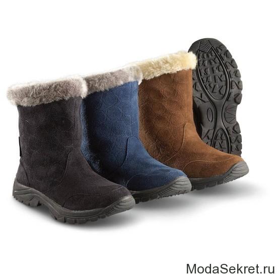 черные, коричневые, синие зимние сапоги для женщин