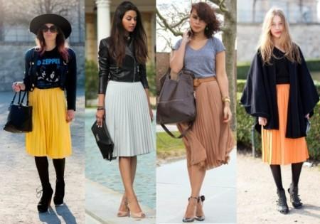 С чем носить серую юбку ниже колен