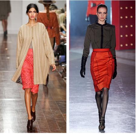 Красная юбка и стильные принты и орнаменты