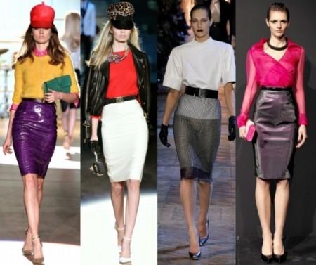 Распространенные сочетания для цветных юбок