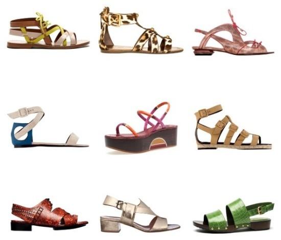 Разнообразные виды сандалий