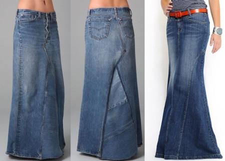 Длинная джинсовая юбка