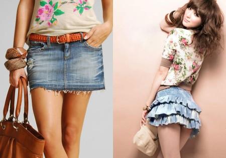 Капризная мини джинсовая юбка