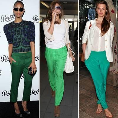 Что надеть с зелеными брюками