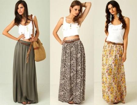 Правила сочетания длинной юбки летом