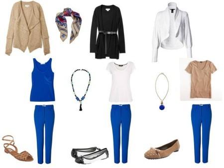 С чем носить синие брюк