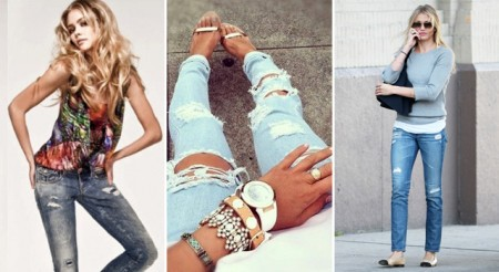 С чем надеть рваные джинсы?