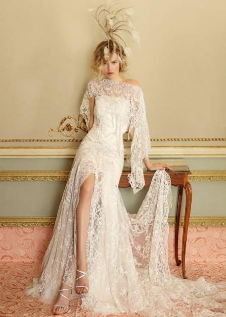 Ретро кружевное свадебное платье