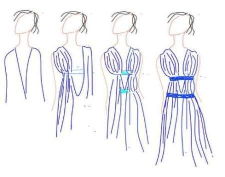 По линии плеч присобираем ткань и прихватываем булавками