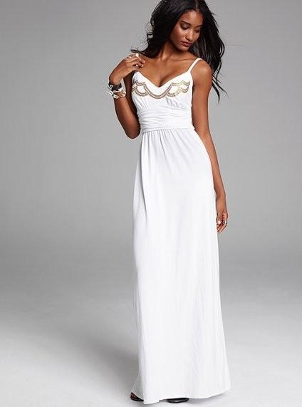 Длинное пляжное белое платье
