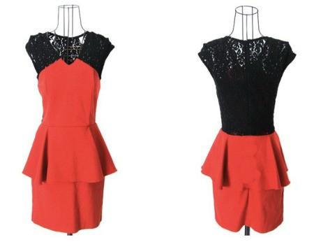 Двуцветное черно-красное платье