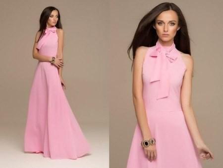 Розовые длинные платья
