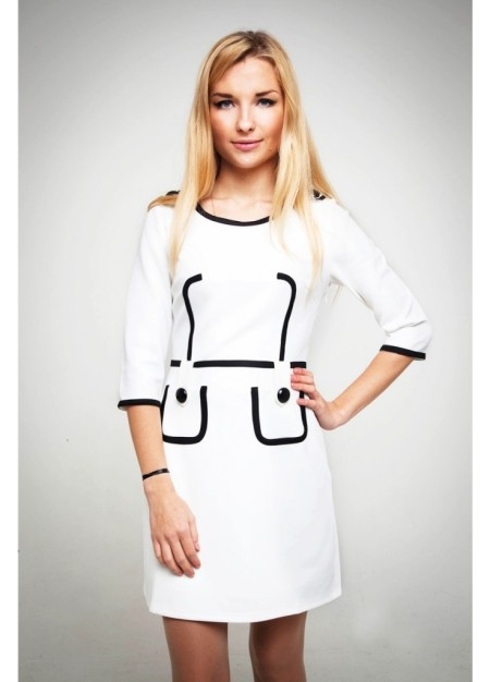 Белые платья с накладными карманами