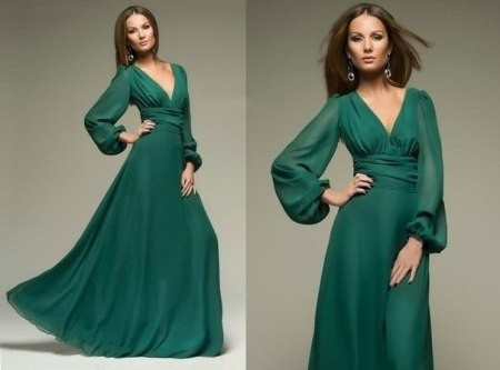 Длинное прямое зелёное платье