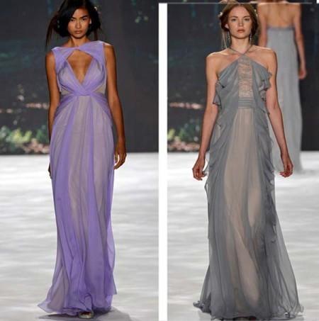 Фасоны длинных платьев из шифона