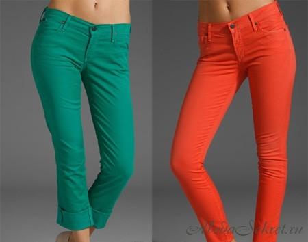 джинсы, лето 2012, джинсовые тренды, мода, цветные джинсы, неоновые...