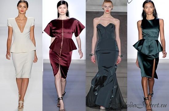 Модные фасоны платьев осень 2012.