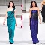 изумрудное и пурпурное платья