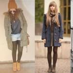 четыре девушки в зимних ботинках