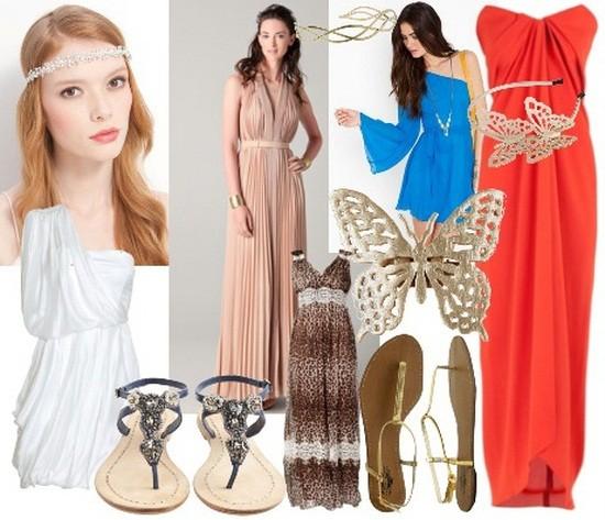 Платья в греческом стиле с чем носят