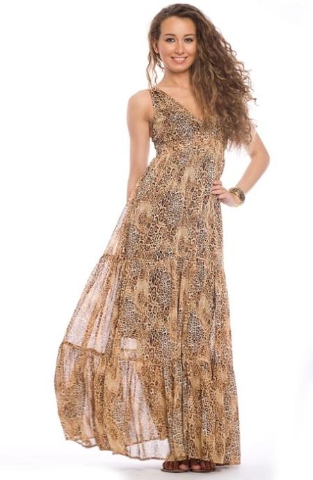 Платье из шифона с рукавами