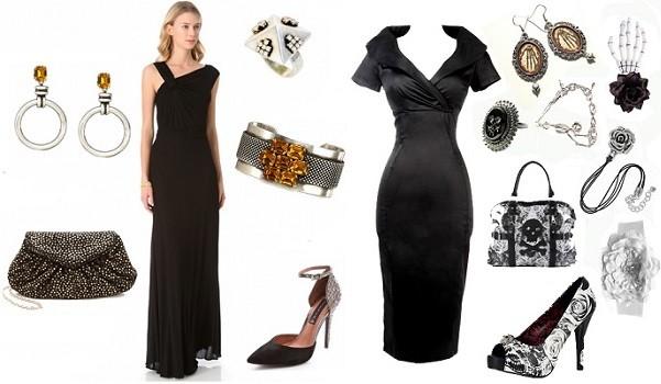 Черное длинное платье и аксессуары к нему