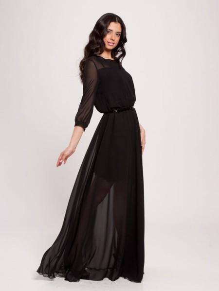 Длинное чёрное шифоновое платье