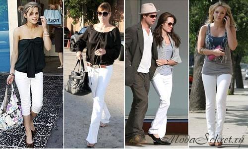 Знаменитости в белых джинсах