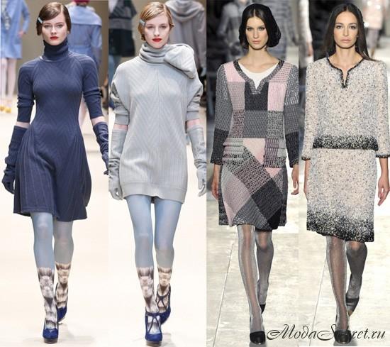 вязаные платья осень-зима -