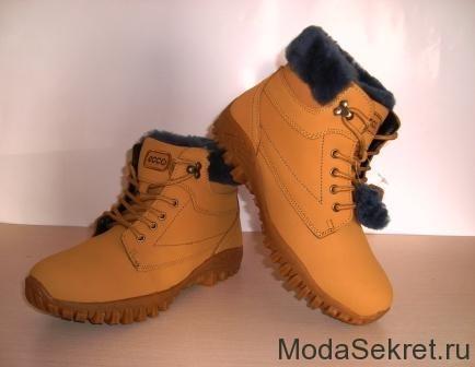 песочного цвета ботинки для зимы