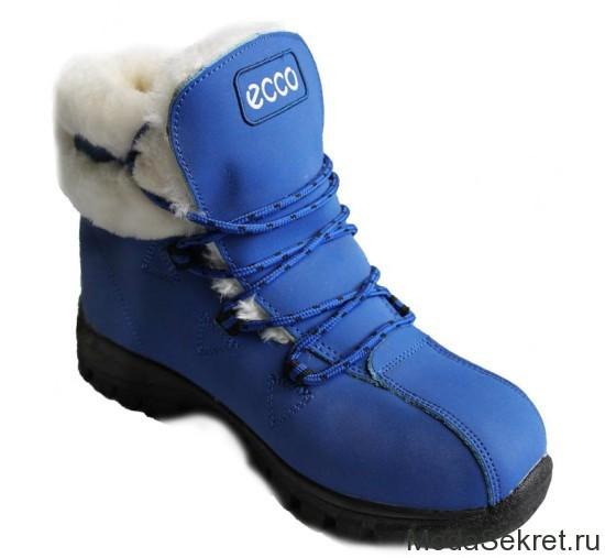 синие зимние ботинки на шнуровке для женщин