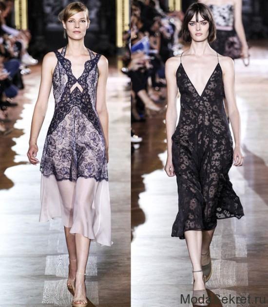 платья в бельевом стиле на моделях