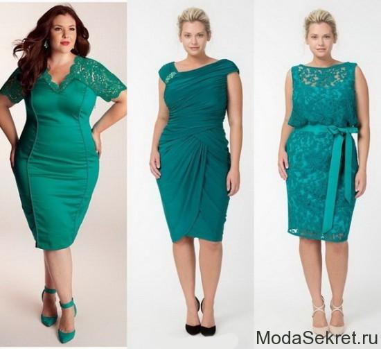модели больших размеров позируют в зеленых платьях