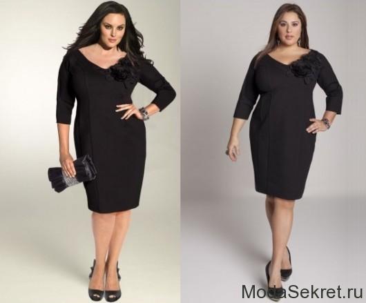 две модели больших размеров в черных платьях