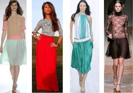 Юбка плиссе: основные виды сочетания с другой одеждой