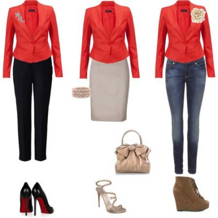 С чем носить красный пиджак?