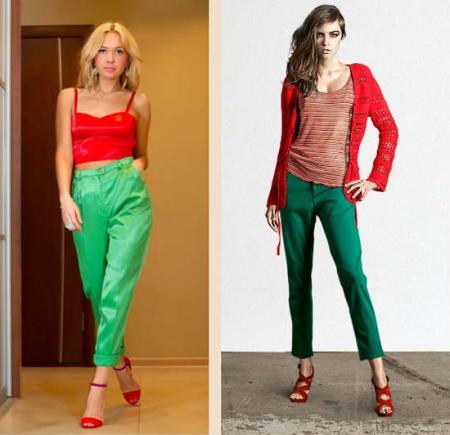 Зеленые брюки не сочетается с красным