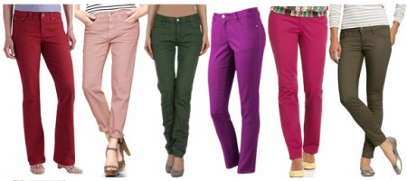 Модные цветные брюки