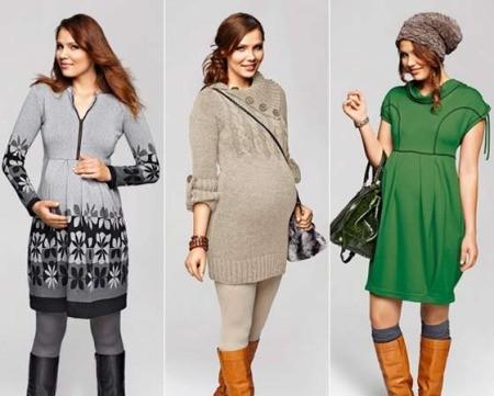 Теплое платье для беременных