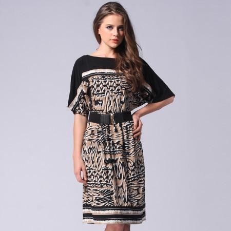 Платье с коротким рукавом реглан