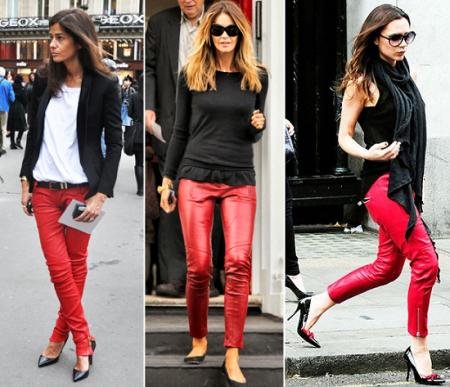 С чем носить разные фасоны красных брюк