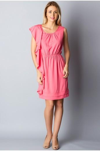 Однотонное шифоновое платье с атласным манжетом