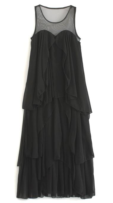 Шифоновое каскадное платье