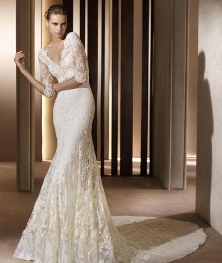 Длинное платье для свадьбы с рукавами