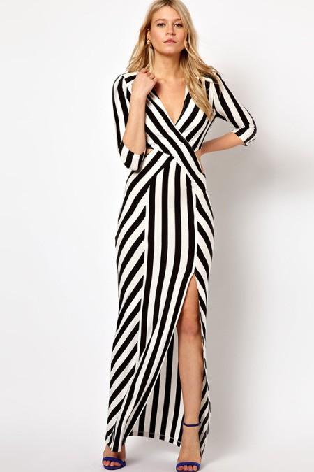 Длинное прямое платье в полоску